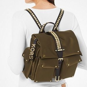MICHAE KORS Olivia Medium Studded Satin Backpack
